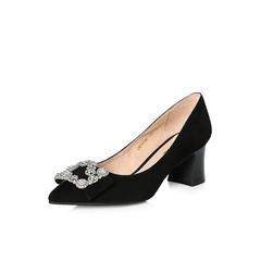 Belle/百丽2018春新品专柜同款黑色羊绒皮粗高跟浅口尖头OL通勤女单鞋S1N1DAQ8