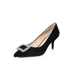Belle/百丽2018春新品专柜同款黑色羊绒皮尖头浅口OL通勤女单鞋S1P1DAQ8