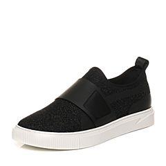 Belle/百丽2018春季黑色纺织品套脚平跟板鞋男休闲鞋68439AM8
