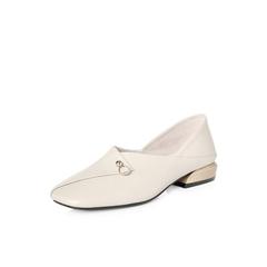 Belle/百丽专柜同款摔纹牛皮革方头奶奶鞋女单鞋S2H1DAQ8