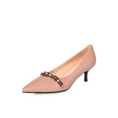 Belle/百丽2018春季新品专柜同款驼色胎牛皮尖头细跟浅口女单鞋S2G1DAQ8