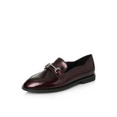 Belle/百丽2018春季新品专柜同款酒红皱牛漆皮革女皮鞋乐福鞋S2F2DAM8