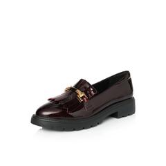 Belle/百丽专柜同款酒红色乐福鞋牛皮漆皮女皮鞋S2E1DAM8