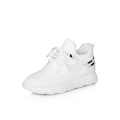 Belle/百丽2018春季新品专柜同款白色运动风弹力布/滴胶女休闲鞋S2D1DAM8