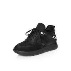 Belle/百丽2018春季新品专柜同款黑色运动风弹力布/滴胶女休闲鞋S2D1DAM8