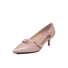 Belle/百丽2018春新品粉色羊皮尖头浅口猫跟鞋女单鞋80221AQ8
