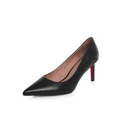Belle/百丽2018年春季新品专柜同款黑色胎牛皮革女皮鞋S1V1DAQ8