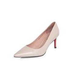 Belle/百丽2018年春季新品专柜同款杏色胎牛皮革女皮鞋S1V1DAQ8