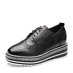 Belle/百丽2018春新品专柜同款黑色雕花布洛克鞋牛皮厚底女单鞋BAZ20AM8