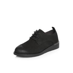 Belle/百丽2018春新品专柜同款黑色英伦风珠光磨砂牛皮满帮女单鞋BAS22AM8