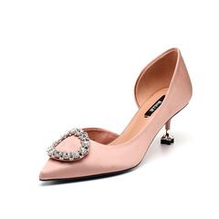 Belle/百丽2018春新品专柜同款粉灰真丝布四叶草细跟女凉鞋BYCB5AK8