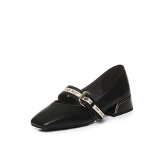 Belle/百丽2018春季新品黑色摔纹油皮小牛皮女单鞋BRE13AQ8