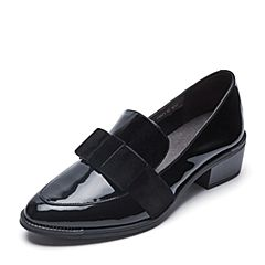 Belle/百丽2018春新品黑色英伦风乐福鞋漆牛皮女单鞋BGZA4AM8