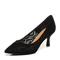 Belle/百丽2018春新品黑色羊绒皮镂空细高跟尖头OL通勤女单鞋BADB4AQ8