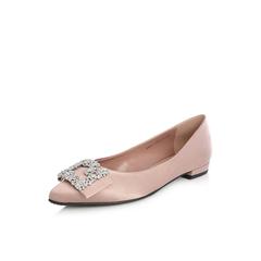 Belle/百丽2018春新品专柜同款粉灰真丝布闪钻浅口尖头女单鞋BRP17AQ8