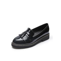 Belle/百丽2018春季新品黑色乐福鞋流苏牛皮女单鞋18083AM8