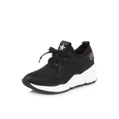 Belle/百丽专柜同款黑色运动风弹力布/胶片女休闲鞋S2V1DAM8