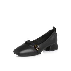 Belle/百丽2018春季新品专柜同款黑色摔纹牛皮女单鞋玛丽珍鞋S2U1DAQ8