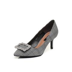 Belle/百丽2018春季新品黑色格纹布尖头细高跟女单鞋BADC1AQ8