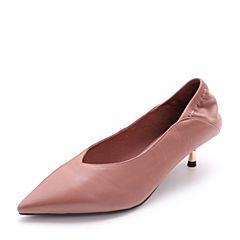 Belle/百丽2018春新品专柜同款粉杏羊皮女尖头小V口猫跟鞋单鞋S3C1DAQ8