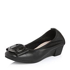 Belle/百丽2018春新品专柜同款黑色牛皮浅口圆头女休闲鞋S2Y1DAQ8