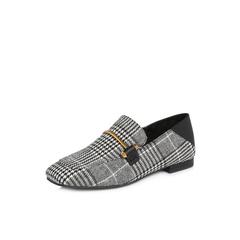 Belle/百丽2018春季新品专柜同款黑白/黑纺织品/牛皮革女单鞋BUA21AM8