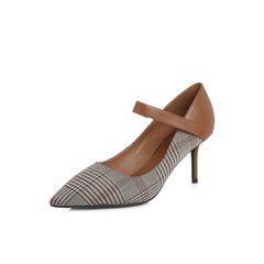 Belle/百丽专柜同款棕格子布/胎牛皮OL通勤尖头女单鞋S3L1DAQ8