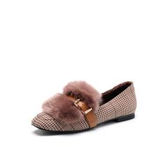 Belle/百丽2018春新品专柜同款杏色格子布/兔毛皮方头低跟女单鞋S3T1DAM8