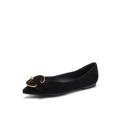 Belle/百丽2018春新品专柜同款黑色羊绒皮浅口尖头女皮鞋S3S2DAQ8