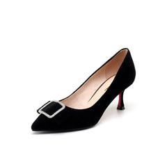 Belle/百丽2018春新品专柜同款黑色羊绒皮女单鞋S3P1DAQ8