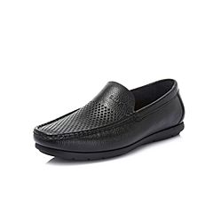 Belle/百丽夏季商场同款黑色荔纹牛皮革男乐福鞋皮鞋34604BM8