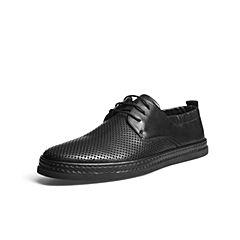 Belle/百丽夏商场同款黑色牛皮男休闲鞋5RL01BM8