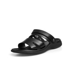 Belle/百麗商場同款黑色牛皮男涼鞋5RZ01BL8