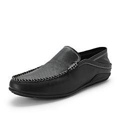 Belle/百丽商场同款黑色牛皮男休闲鞋豆豆鞋5SE01BM8