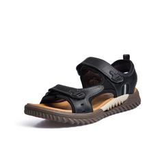 Belle/百丽商场同款黑色牛皮男凉鞋5RU11BL8