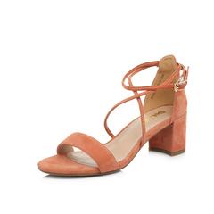 宋佳同款Belle/百丽2018夏新专柜同款棕红羊绒皮革女凉鞋BLAC5BL8