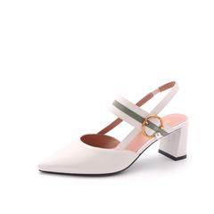 Belle/百丽2018夏新品专柜同款米/绿胎牛皮女尖头后空粗跟凉鞋BSYA4BH8