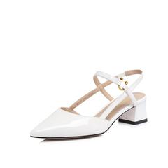 Belle/百丽专柜同款白色皱漆牛皮尖头女凉鞋BPT37BH8