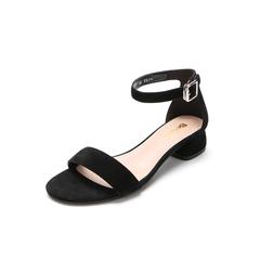 Belle/百丽专柜同款黑色羊绒皮革女凉鞋BRU34BL8