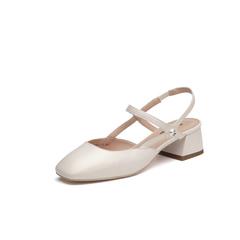Belle/百丽2018夏新品专柜同款米白珠光羊皮女凉鞋BVS37BH8