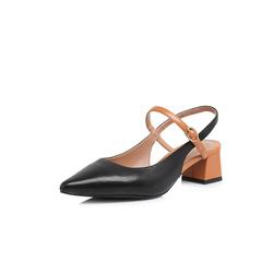 Belle/百丽2018夏新品专柜同款黑/橙油皮绵羊皮/牛皮女尖头后空粗跟凉鞋BPT34BH8