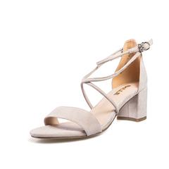 宋佳同款Belle/百丽2018夏新专柜同款灰色羊绒皮革女凉鞋BLAC5BL8