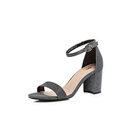 Belle/百丽2018夏新专柜同款黑银亮线布女凉鞋BPFB6BL8
