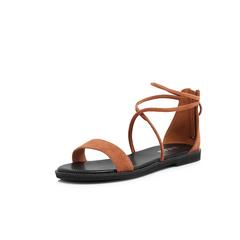 Belle/百丽2018夏新专柜同款棕色羊绒皮革女凉鞋BON37BL8