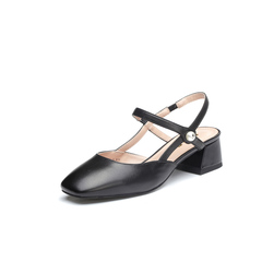 Belle/百丽2018夏新品专柜同款黑色绵羊皮女凉鞋BVS37BH8