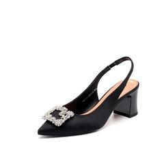 Belle/百丽2018春季新品专柜同款黑真丝布女凉鞋BYC31BH8