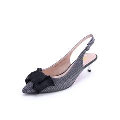 Belle/百丽2018春季新品银灰亮线布尖头后空女凉鞋BPT32BH8(领红包更优惠)