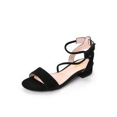 Belle/百丽专柜同款黑色羊绒皮革女凉鞋S3Y1DBL8