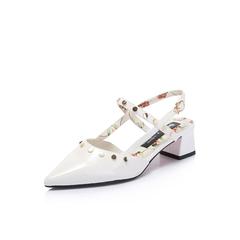 Belle/百丽2018夏新品大英联名款专柜同款白色皱漆皮牛皮革女凉鞋BPT38BH8