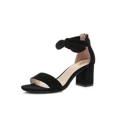 Belle/百丽专柜同款黑色羊绒皮革女凉鞋S4D1DBL8